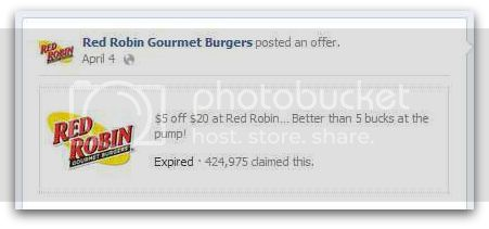 Red Robin Facebook Offer